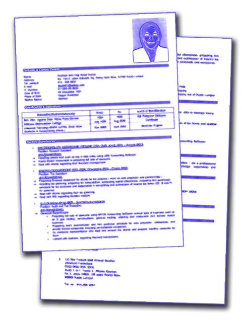 format resume terkini